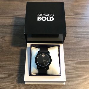 Like New Movado Bold Men's Leather Watch